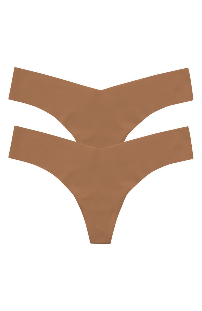 COMMANDO 2-Pack Microfiber Thongs, Main, color, CARAMEL