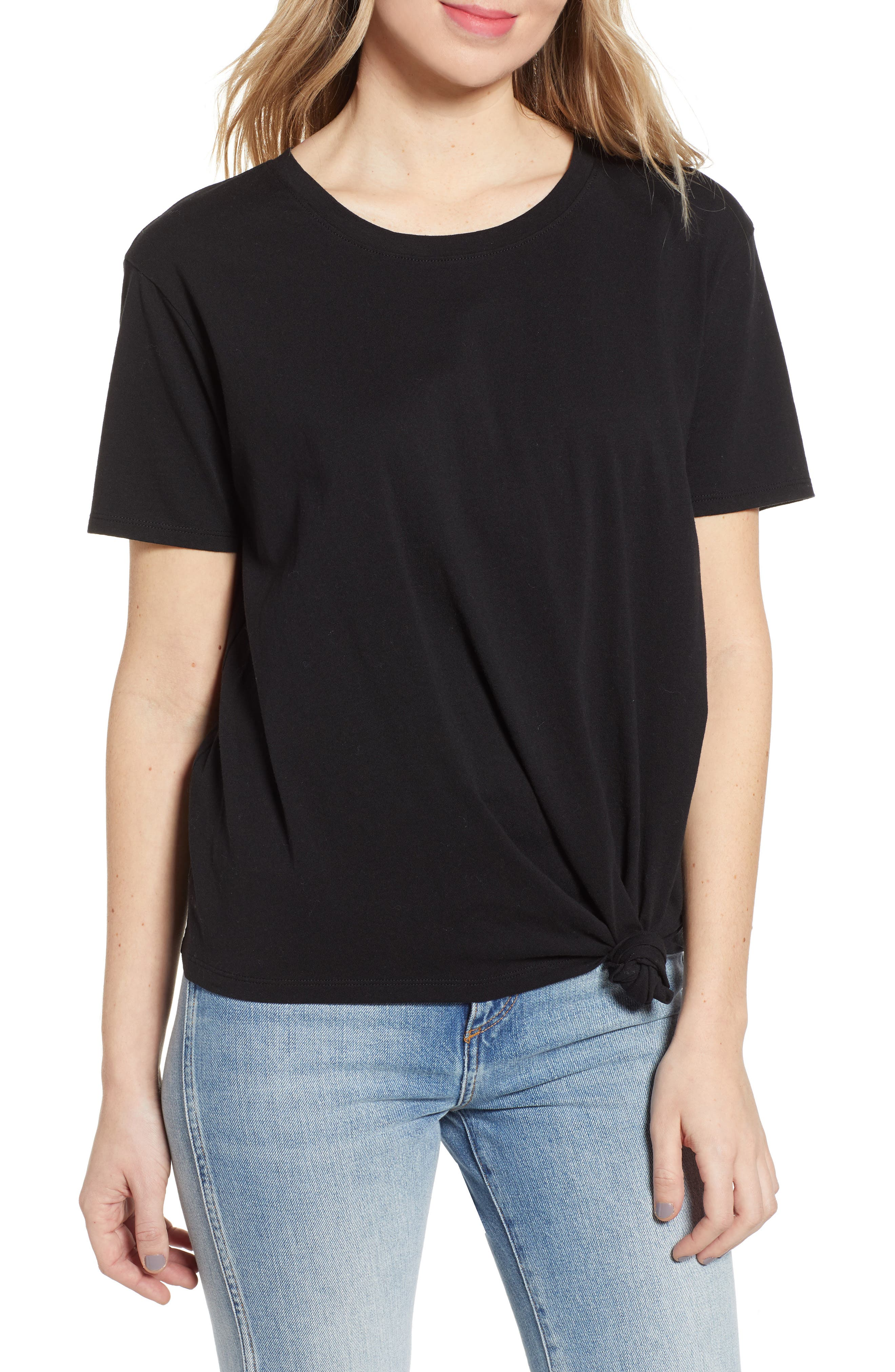 ,                             Knotted Tee,                             Main thumbnail 1, color,                             BLACK