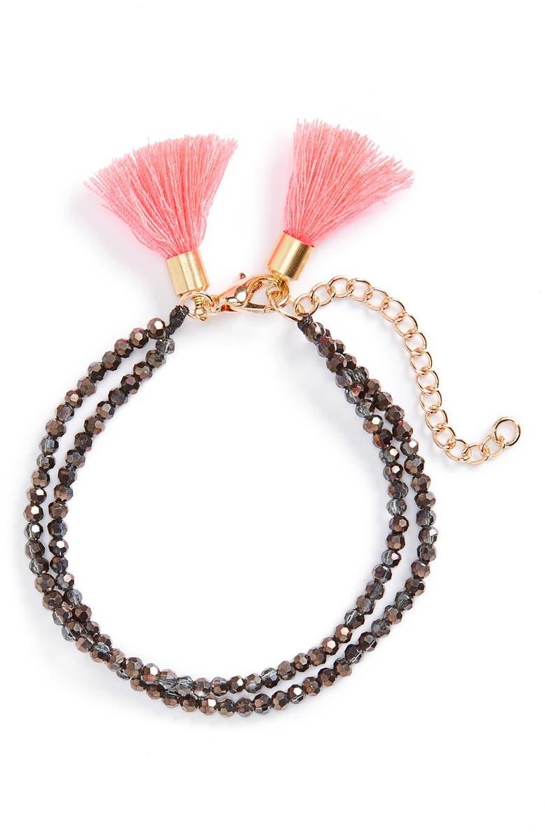 PANACEA Beaded Tassel Bracelet, Main, color, 020