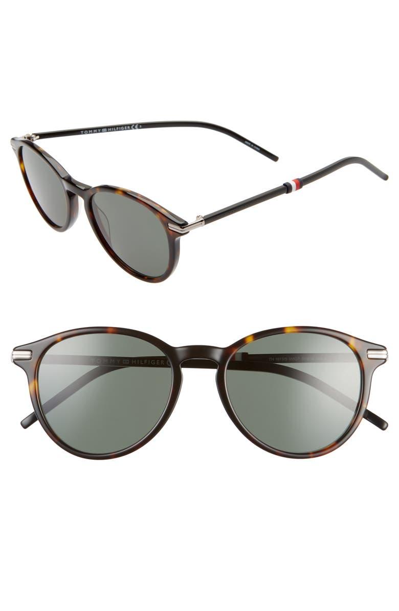 TOMMY HILFIGER 50mm Round Sunglasses, Main, color, HAVANA BLACK/ GREEN