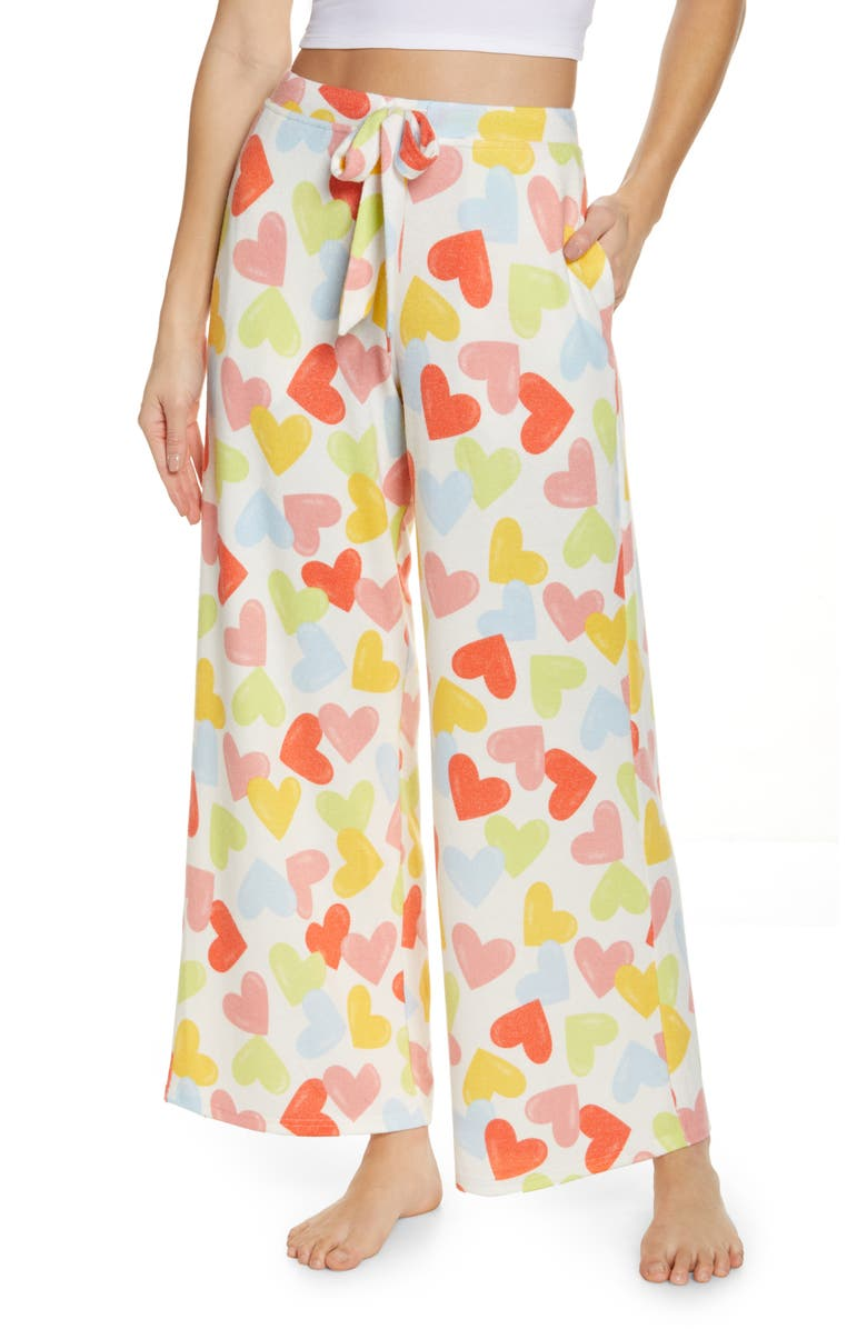 BP. Comfy Lounge Pants, Main, color, IVORY EGRET HAPPY HEARTS