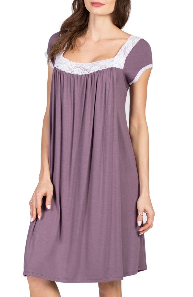SAVI MOM Joliet Maternity/Nursing Nightgown, Main, color, LILAC