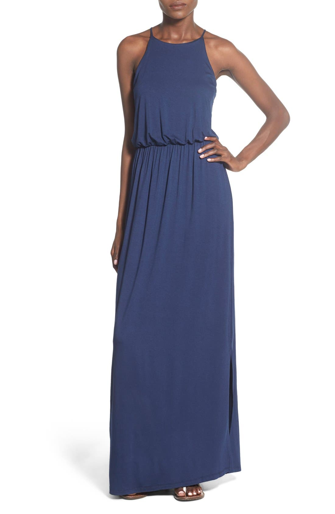 ,                             High Neck Maxi Dress,                             Main thumbnail 96, color,                             401