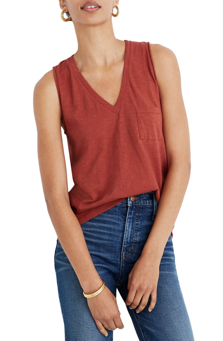 MADEWELL Whisper Cotton V-Neck Tank, Main, color, WEATHERED BRICK