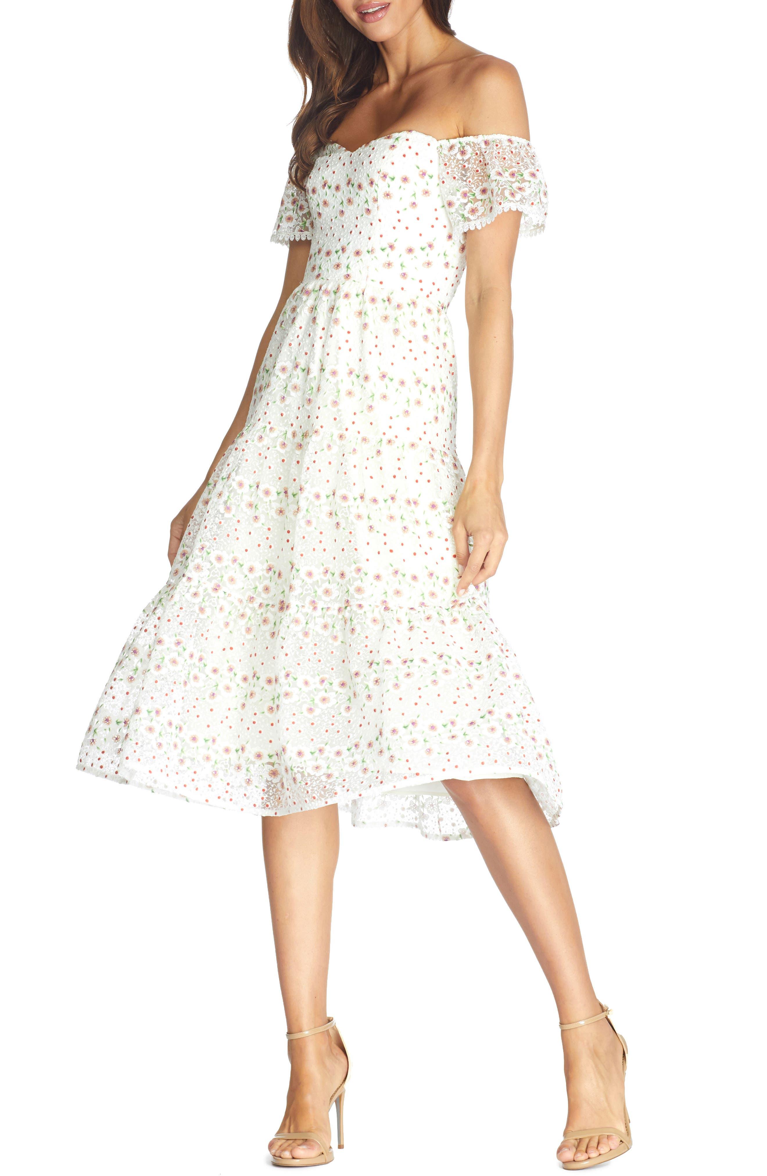 Dress the Population River Embroidered Floral Off the Shoulder Dress | Nordstrom