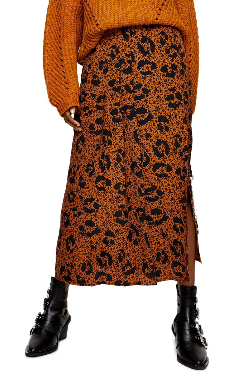 TOPSHOP Floral Animal Box Pleat Midi Skirt, Main, color, BLACK MULTI