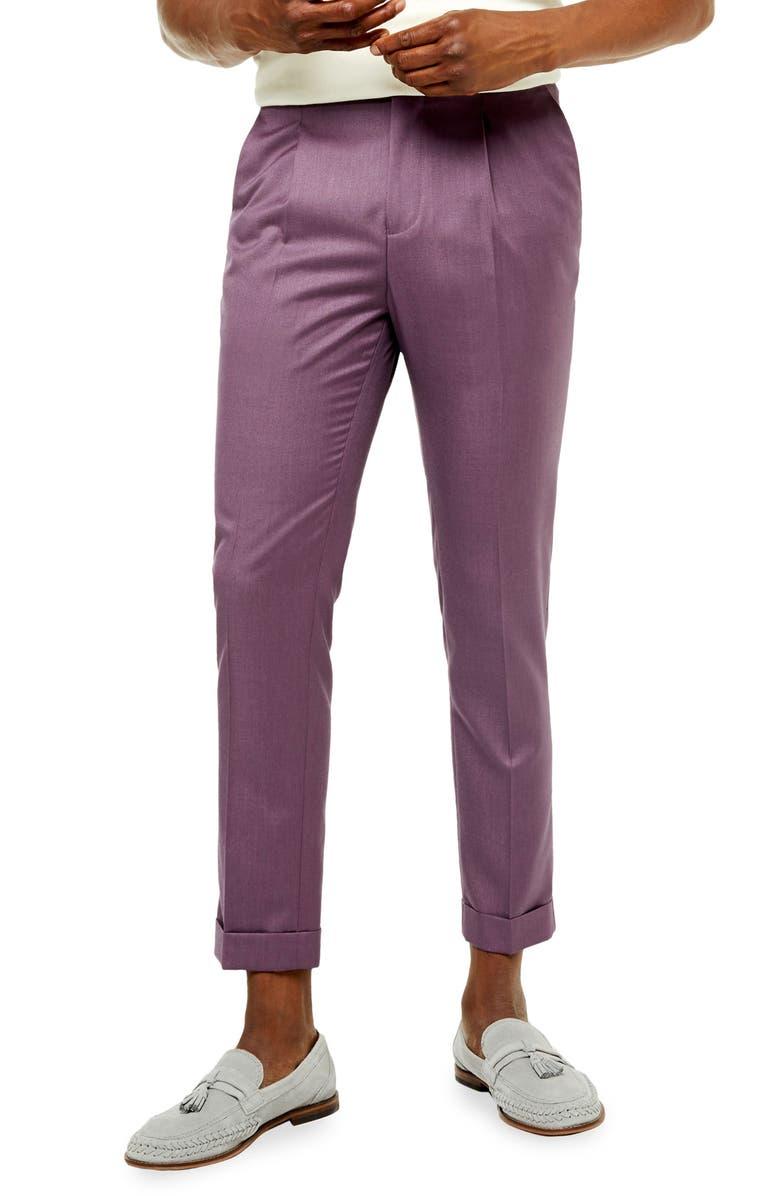 TOPMAN Chew Skinny Fit Turnup Pants, Main, color, BURGUNDY