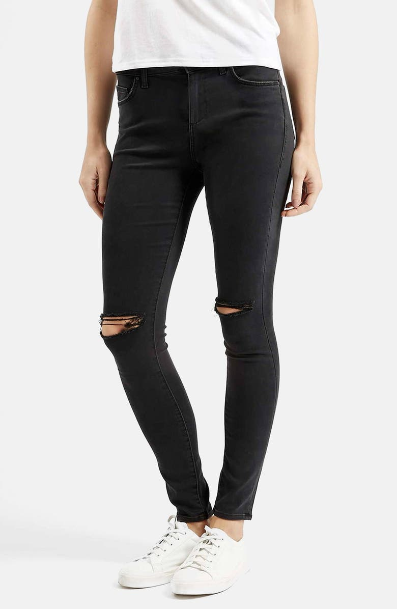 TOPSHOP Moto 'Leigh' Ripped Skinny Jeans, Main, color, 001