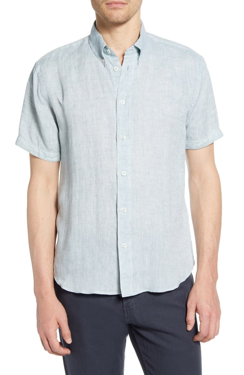 BILLY REID Tuscumbia Short Sleeve Linen Button-Down Shirt, Main, color, 440