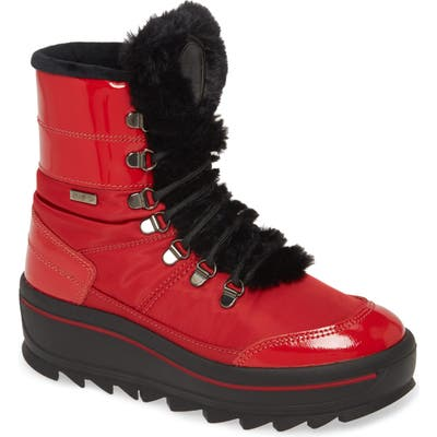 Pajar Taian Faux Fur Trim Waterproof Insulated Boot, Red
