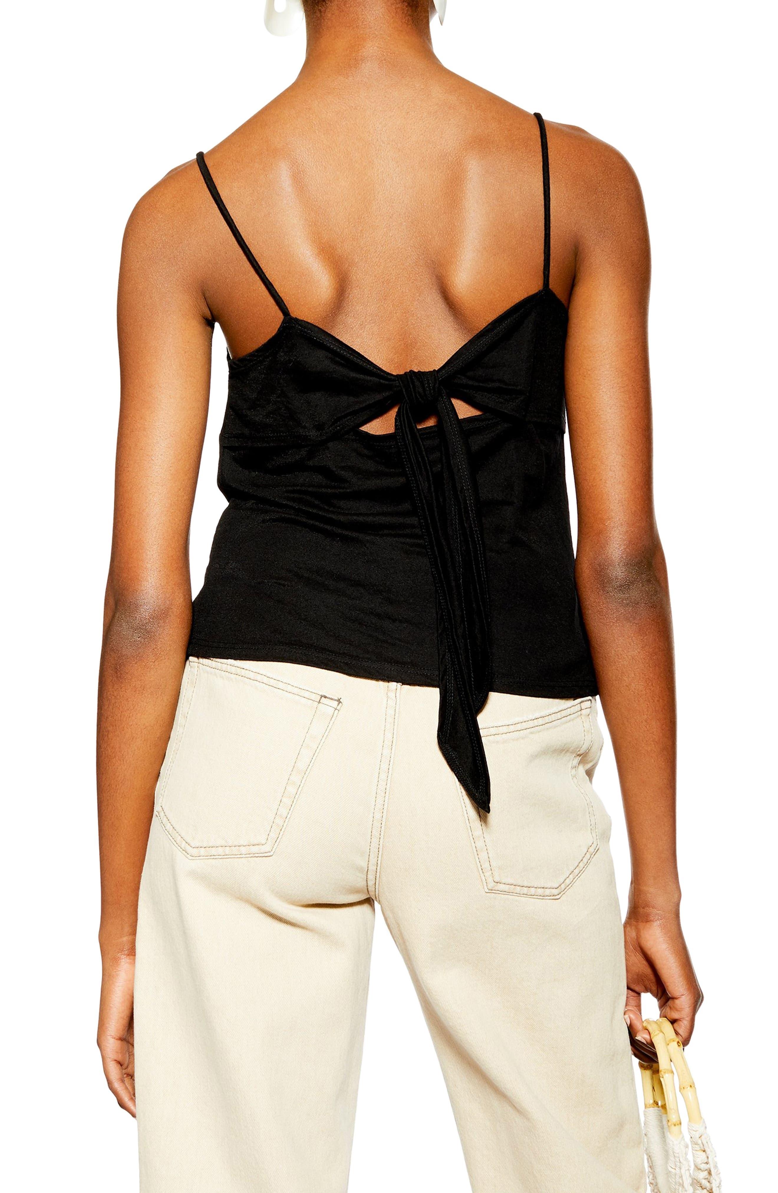 ,                             Bow Back Button Camisole,                             Alternate thumbnail 2, color,                             BLACK