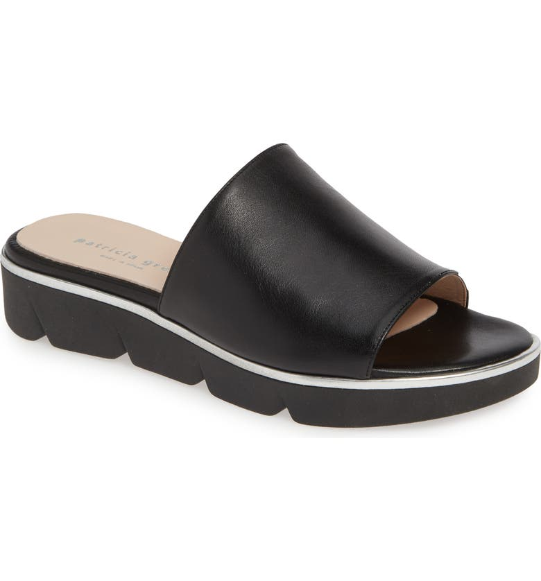 PATRICIA GREEN Callie Slide Sandal, Main, color, BLACK LEATHER
