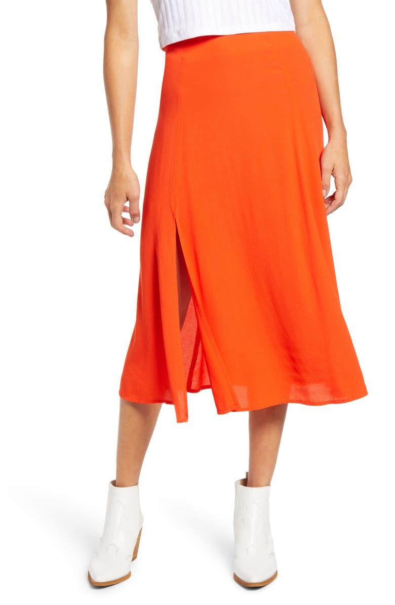 SOCIALITE High Slit Midi Skirt, Main, color, TOMATO ORANGE