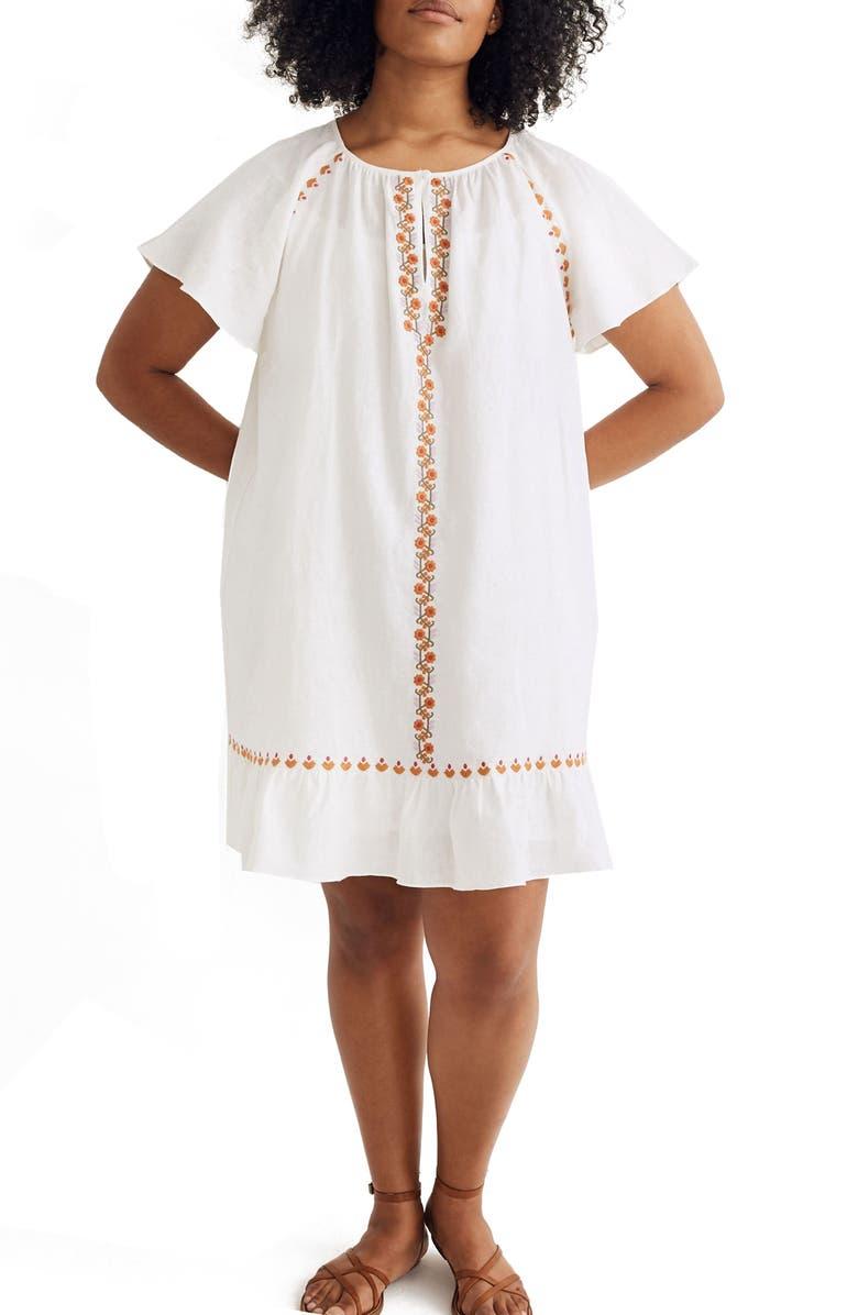 MADEWELL Embroidered Ruffle Raglan Linen Blend Minidress, Main, color, LIGHTHOUSE
