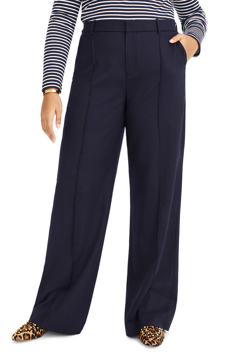 J.CREW Flannel Stretch Wool Pants, Main, color, NAVY