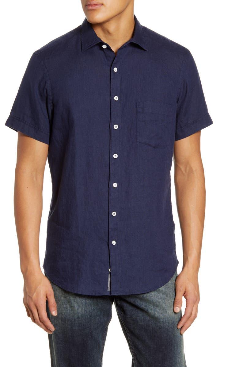 RODD & GUNN Regular Fit Ellerslie Linen Shirt, Main, color, MIDNIGHT