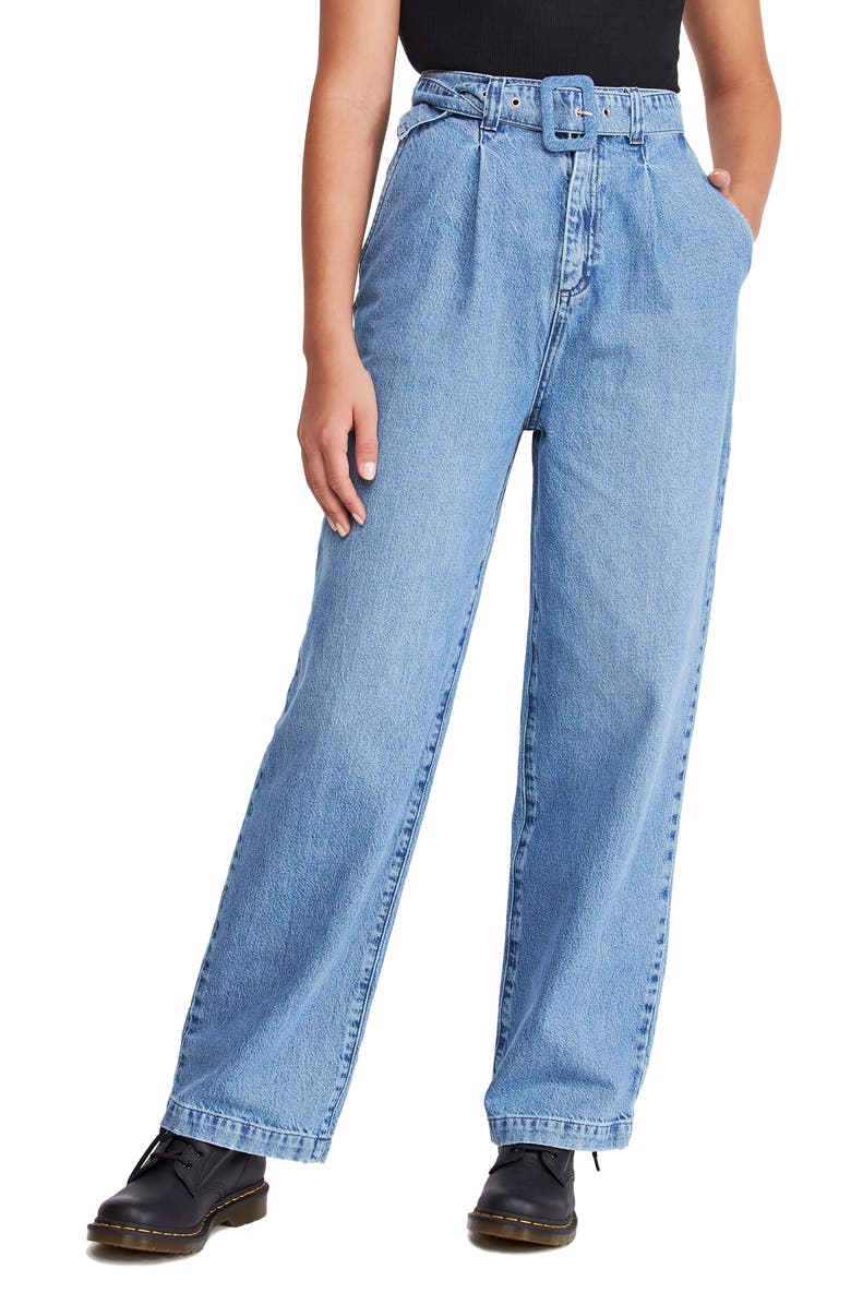 BDG URBAN OUTFITTERS '80s Acid Wash HIgh Waist Mom Jeans, Main, color, DARK DENIM