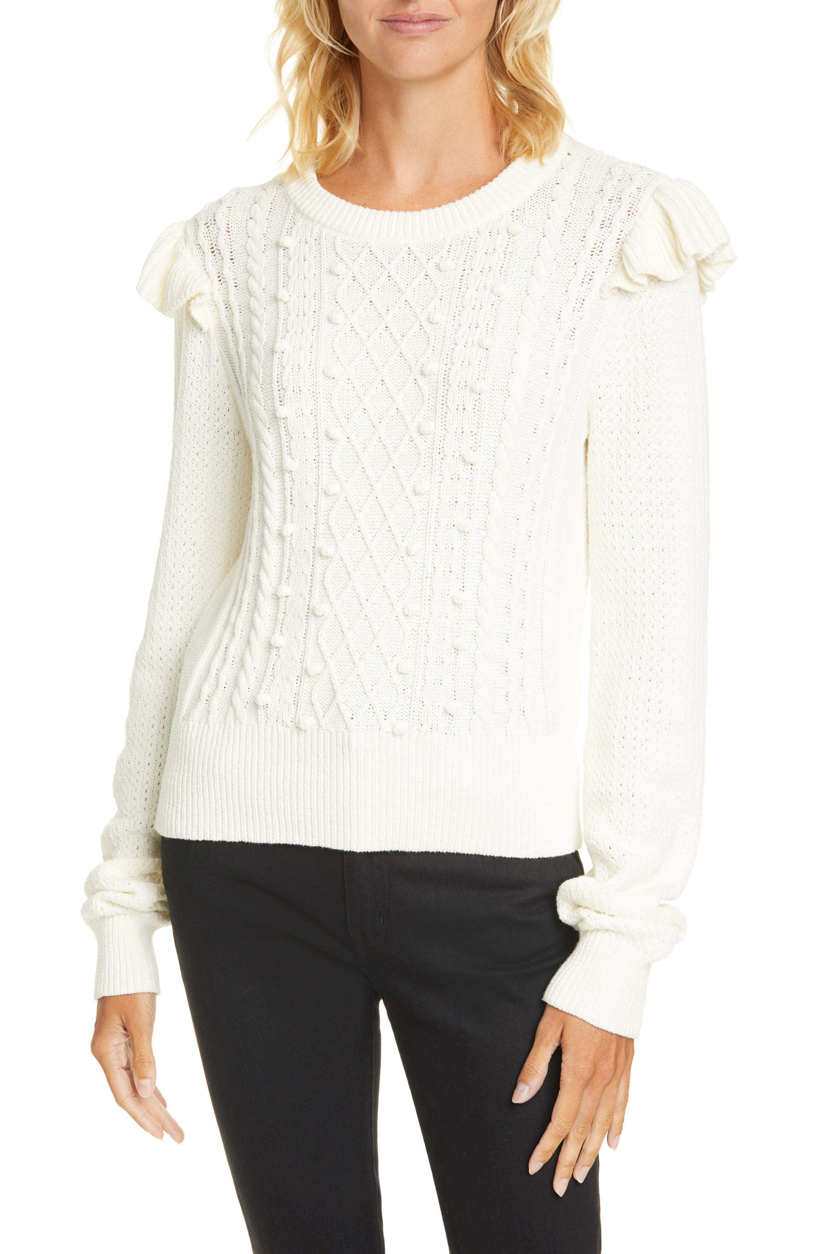 Image of VERONICA BEARD Earl Ruffle Shoulder Cable Knit Sweater