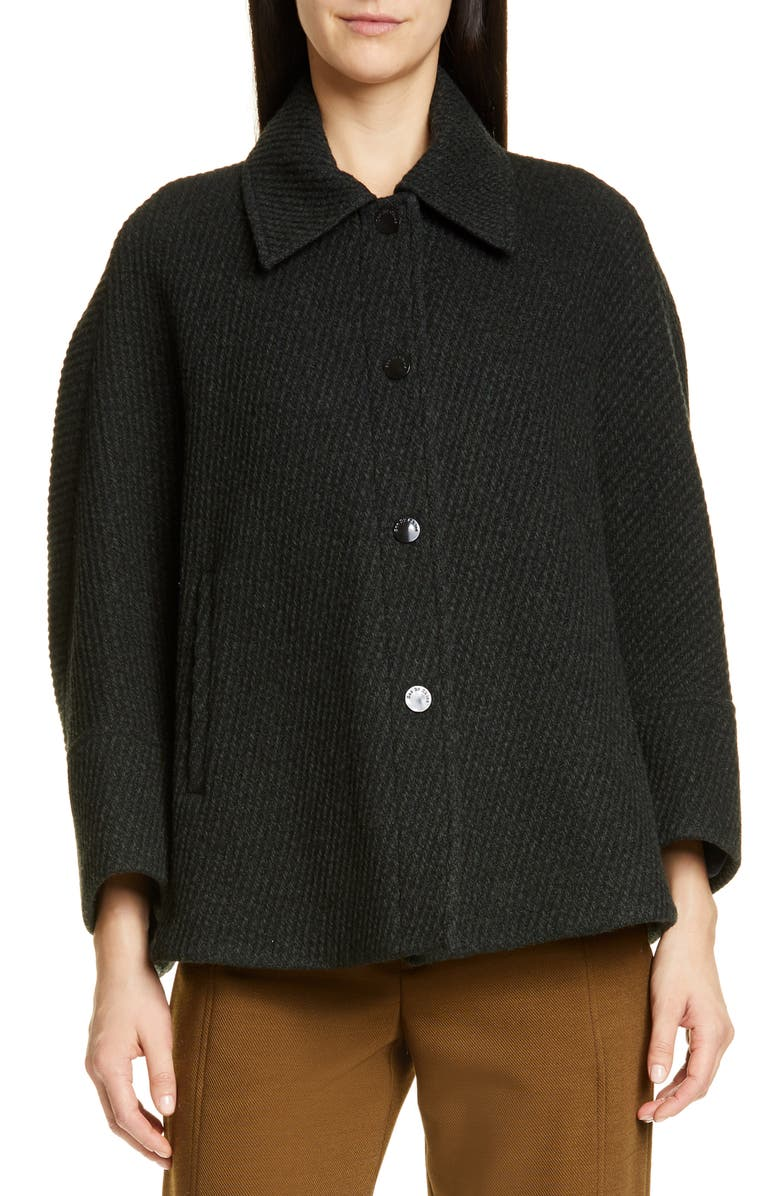 SEE BY CHLOÉ Short Wool Blend Coat, Main, color, GREEN - BLACK