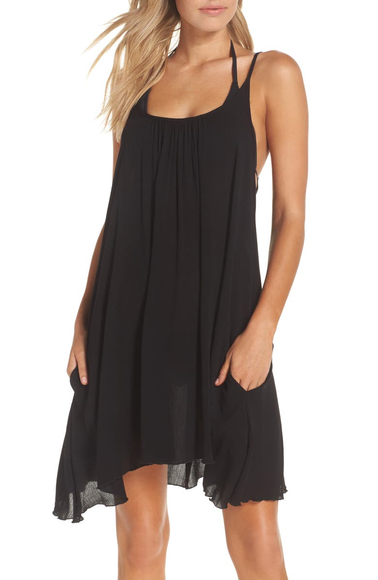 ELAN Cover-Up Slipdress, Main, color, BLACK