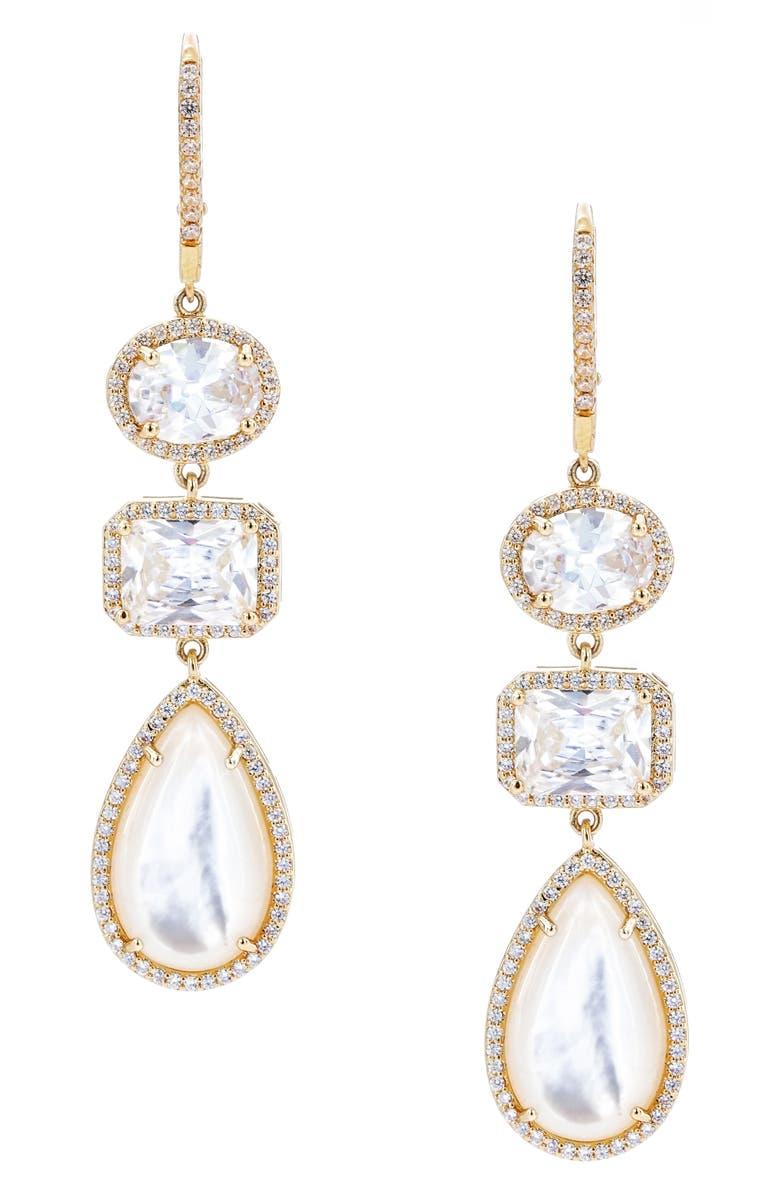 NINA Haloed Triple Drop Earrings, Main, color, GOLD/ WHITE CZ/ MOP