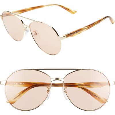 Balenciaga 5m Aviator Sunglasses - Shiny Light Gold/ Brown