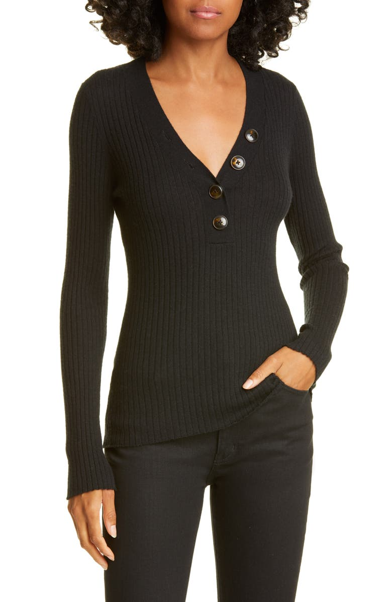AUTUMN CASHMERE Ribbed Cashmere Henley Sweater, Main, color, BLACK
