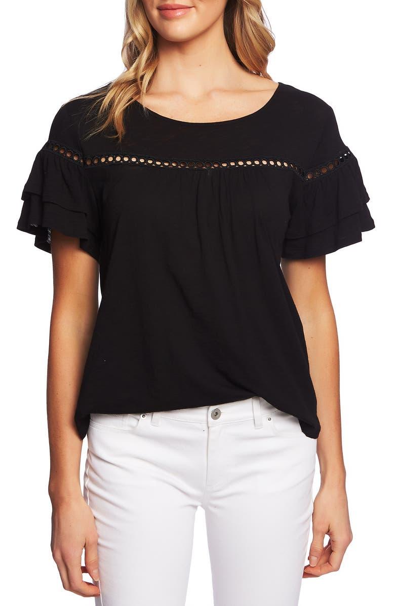 CECE Lace Inset Ruffle Sleeve Cotton Blend Top, Main, color, RICH BLACK