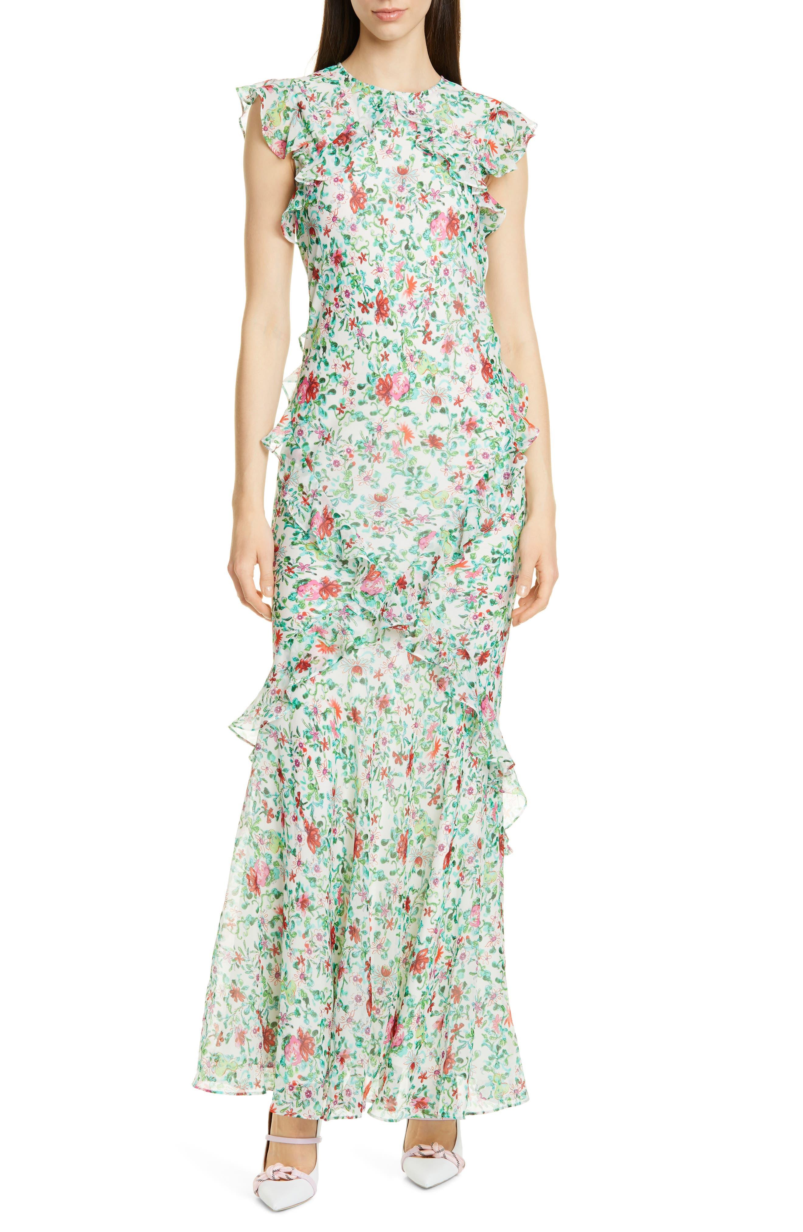 Saloni Tamara Floral Print Silk Maxi Dress, Ivory