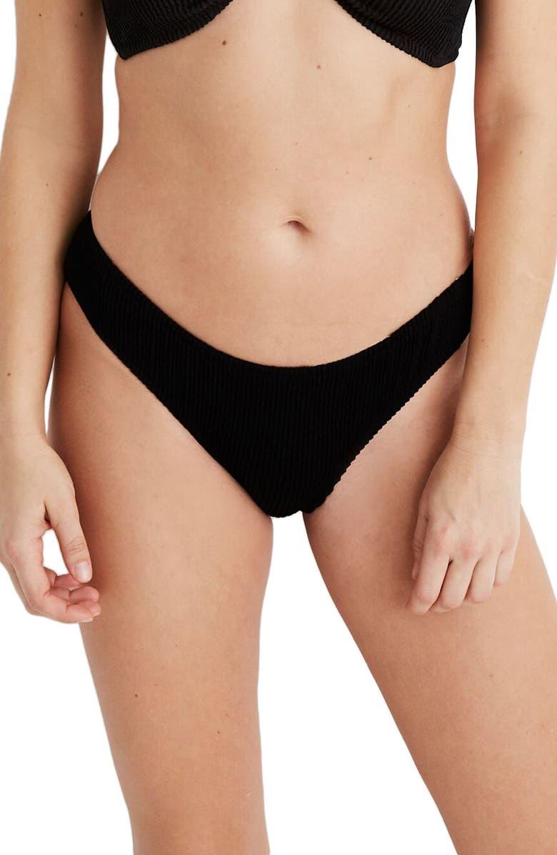 MADEWELL Second Wave Textured Curved Waist Bikini Bottoms, Main, color, 001