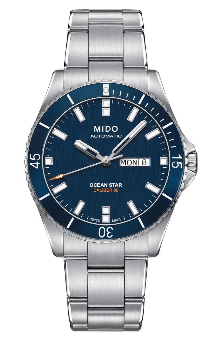 MIDO Ocean Star Diver Bracelet Watch, 42mm, Main, color, SILVER/NAVY/SILVER