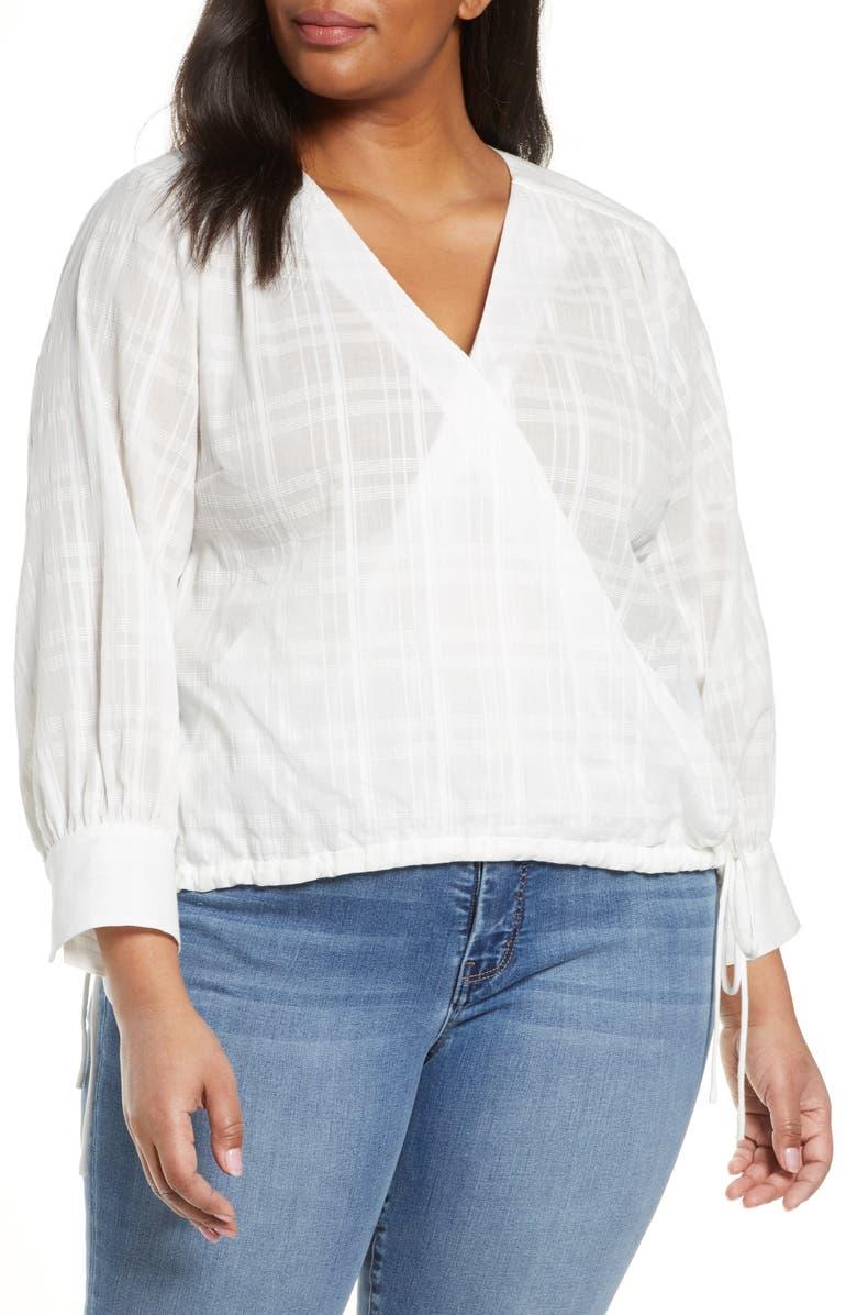 HABITUAL Marta Faux Wrap Gauze Blouse, Main, color, BRIGHT WHITE