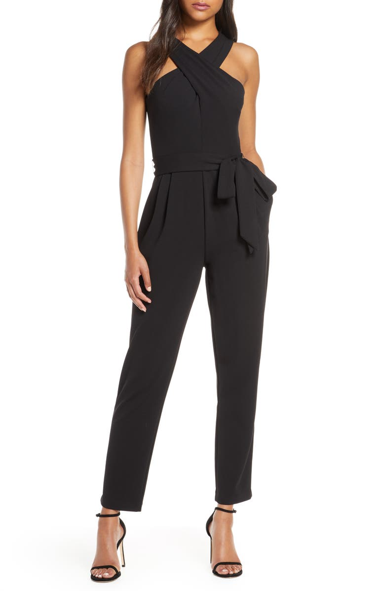 ELIZA J Cross Neck Belted Crepe Jumpsuit, Main, color, BLACK