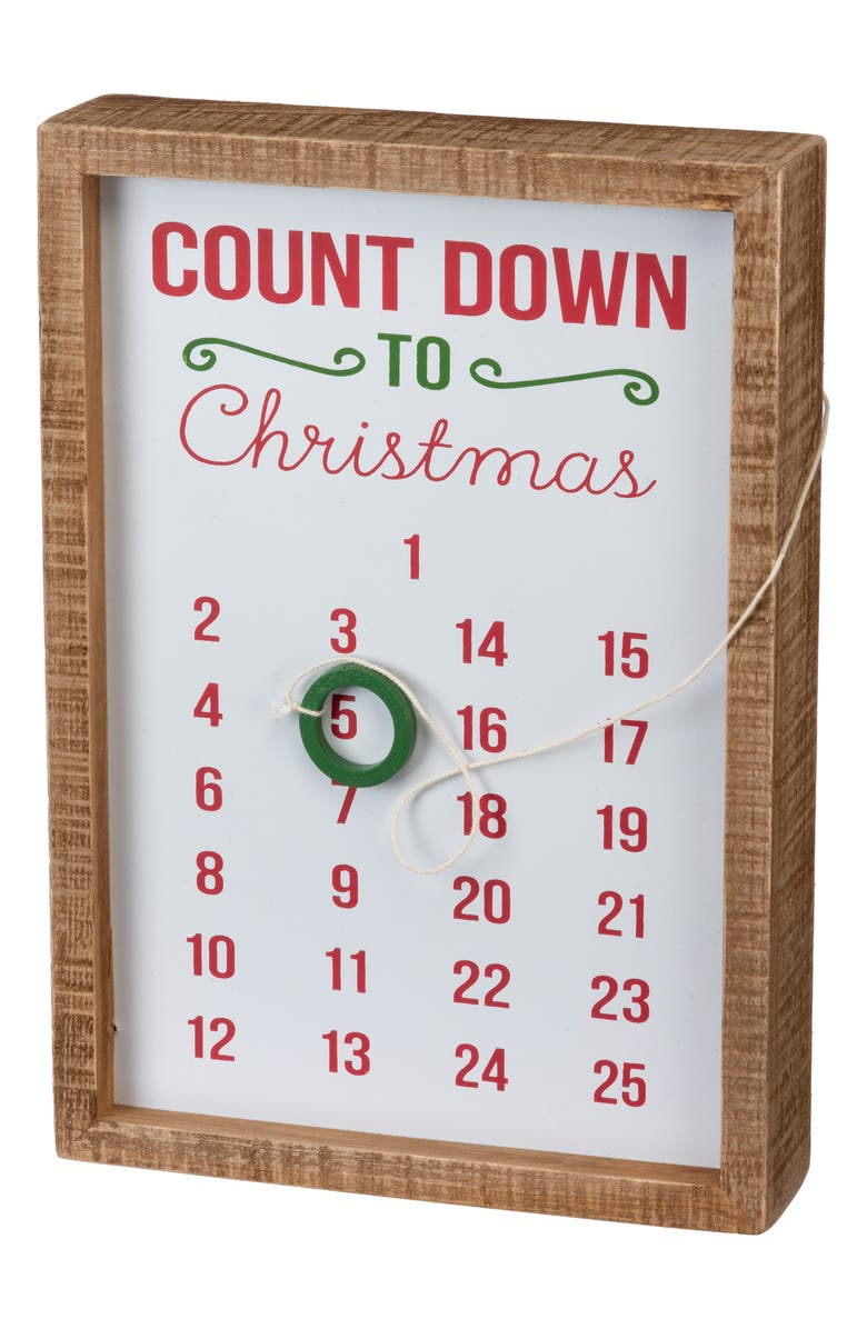 PRIMITIVES BY KATHY Countdown to Christmas Inset Box Sign, Main, color, WHITE