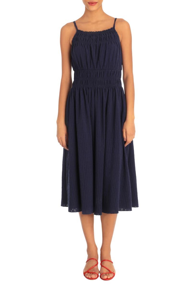 DONNA MORGAN Smocked Front Sleeveless Dress, Main, color, NAVY 14
