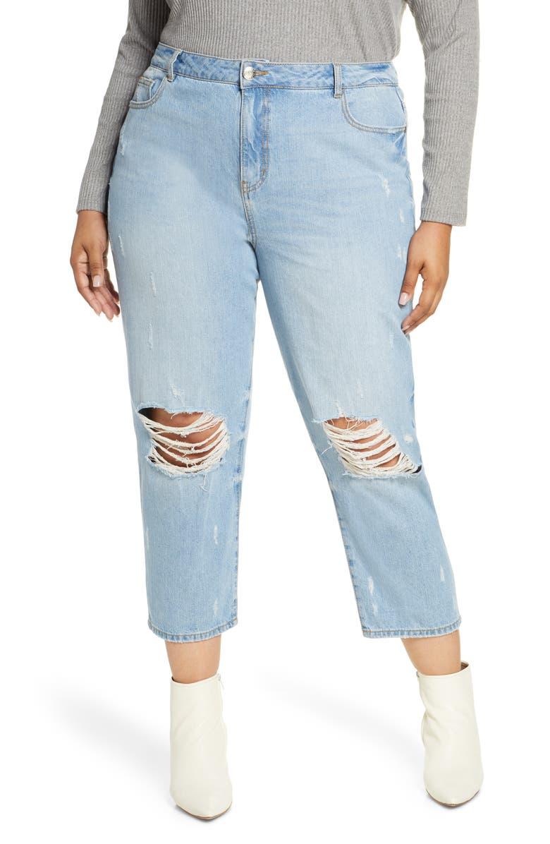 ELOQUII R29 x ELOQUII Mom Jeans, Main, color, MEDIUM WASH W/ DISTRESSING