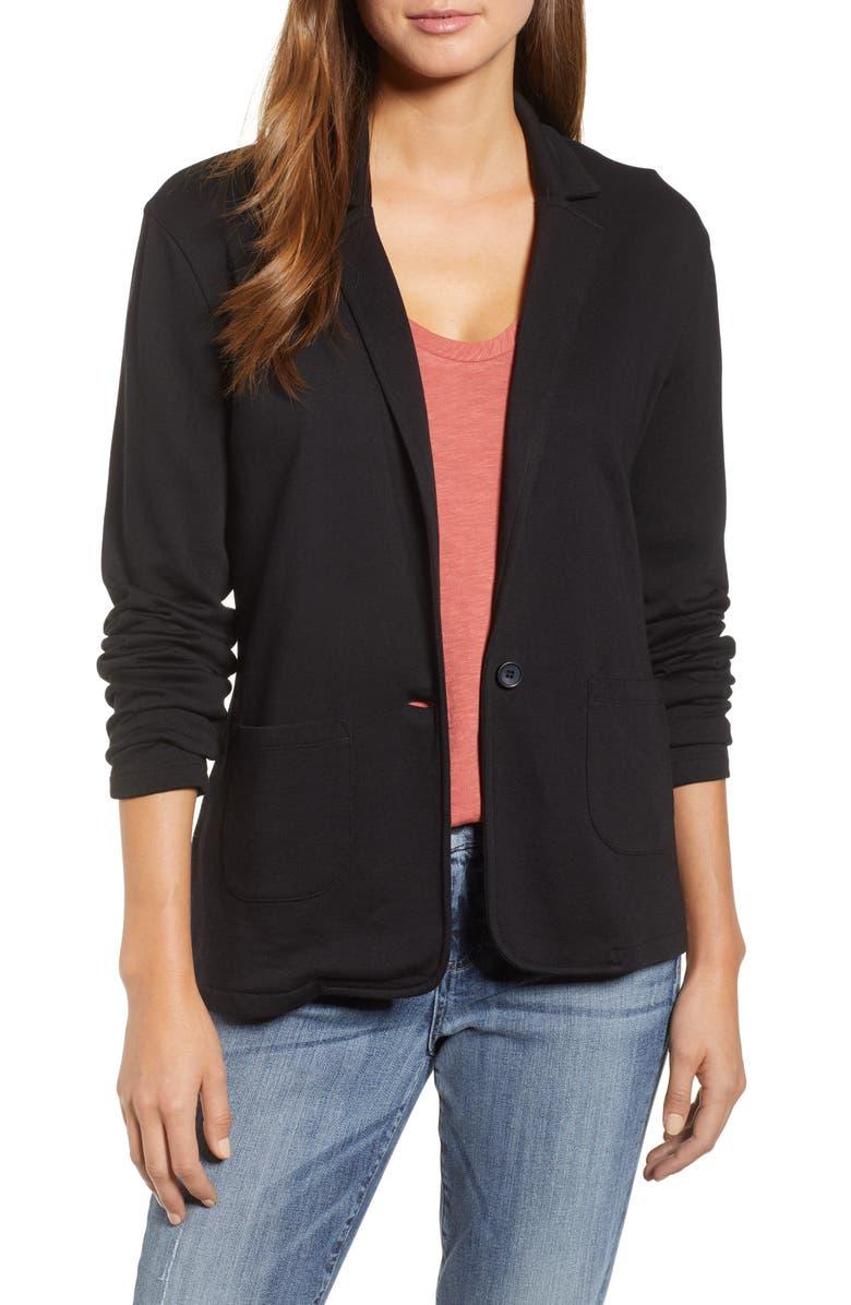 CASLON<SUP>®</SUP> Two Pocket Knit Blazer, Main, color, 001