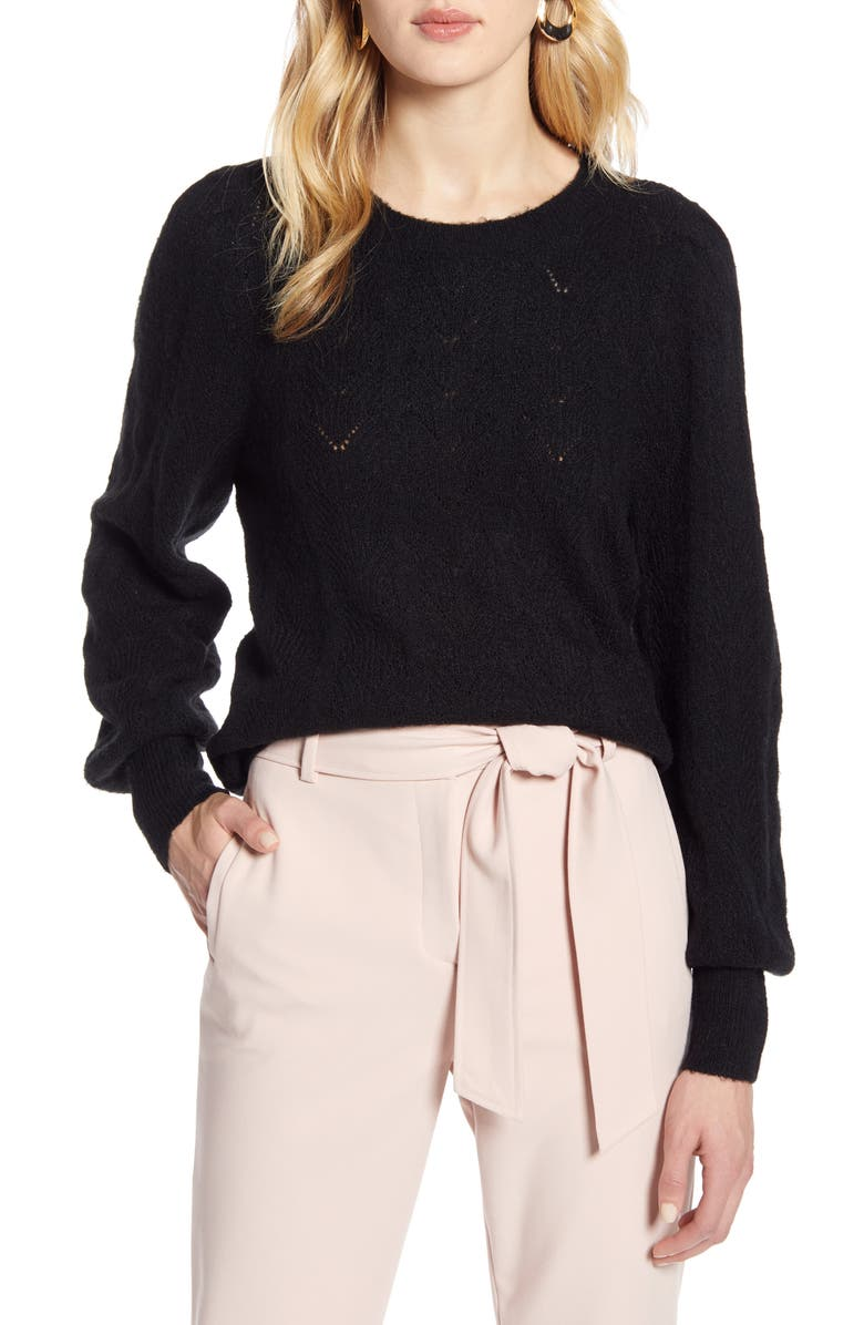 HALOGEN<SUP>®</SUP> Curved Chevron Pointelle Sweater, Main, color, BLACK