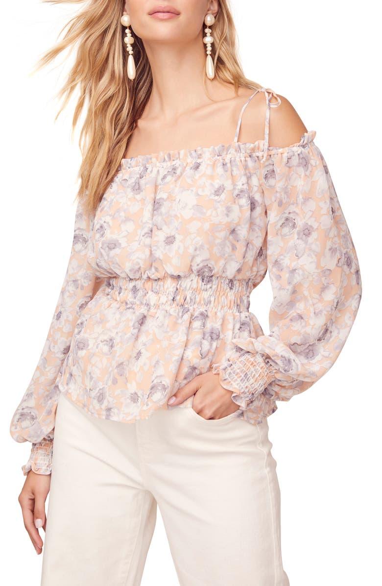 ASTR THE LABEL Harlee Floral Cold Shoulder Top, Main, color, PEACH-GREY FLORAL