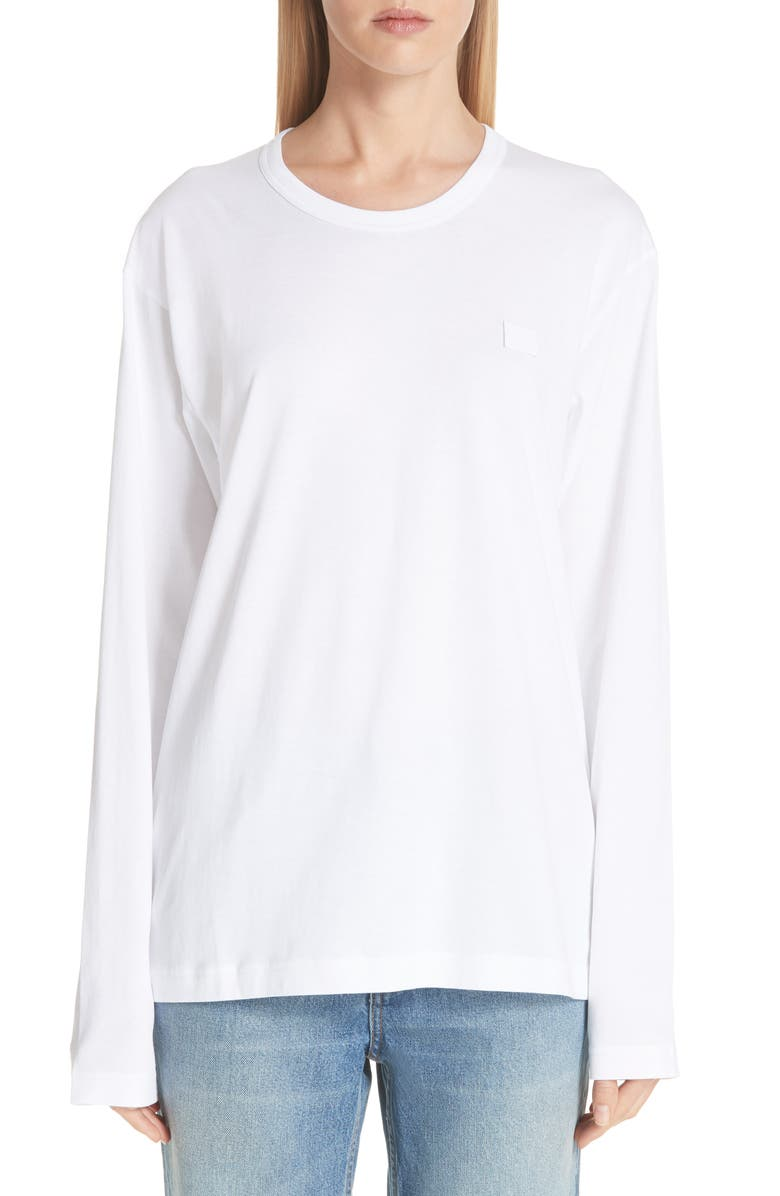 ACNE STUDIOS Nash Face Tee, Main, color, OPTIC WHITE