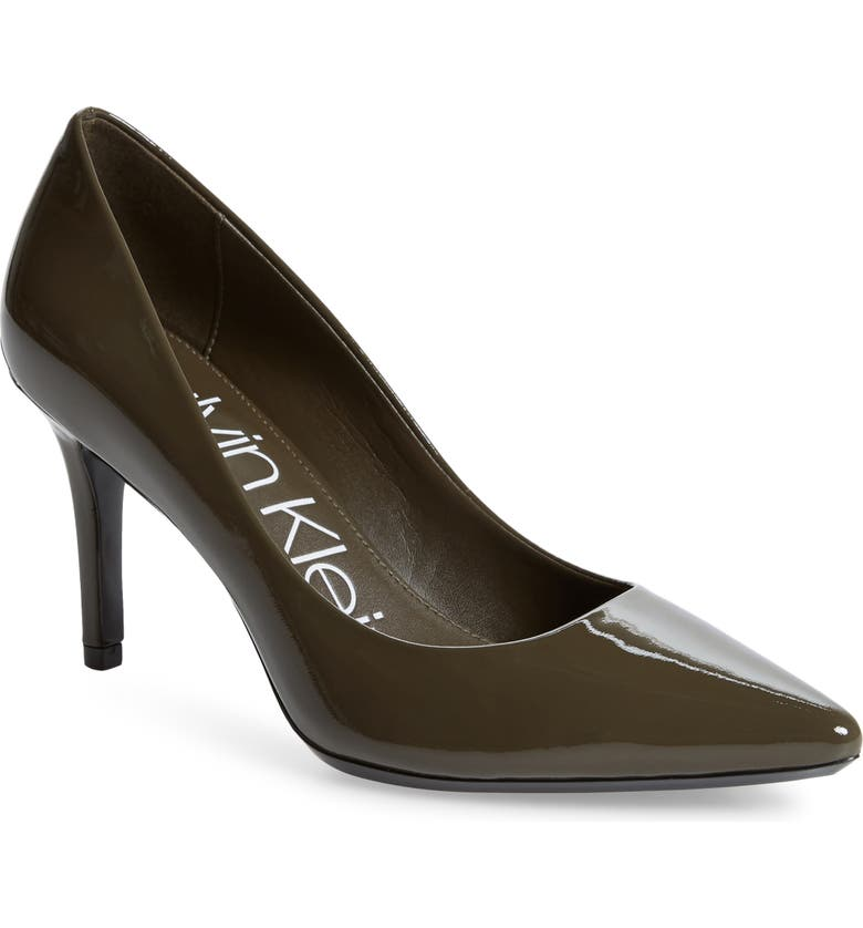 CALVIN KLEIN 'Gayle' Pointy Toe Pump, Main, color, CAMOUFLAGE PATENT LEATHER