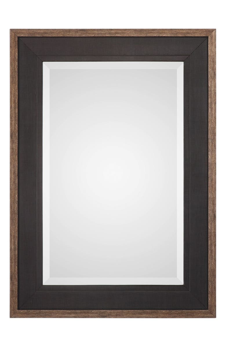 UTTERMOST Staveley Mirror, Main, color, RUSTIC BLACK WITH BRONZE EDGE