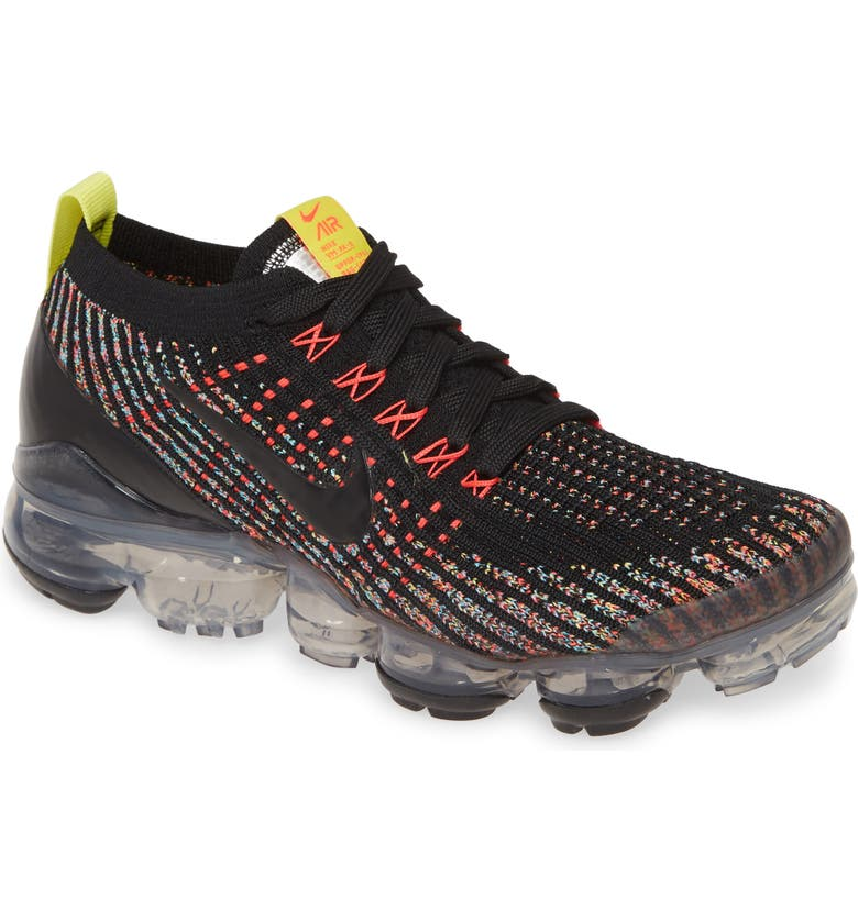 NIKE Air VaporMax Flyknit 3 Sneaker, Main, color, BLACK/ BLUE FURY/ SONIC YELLOW