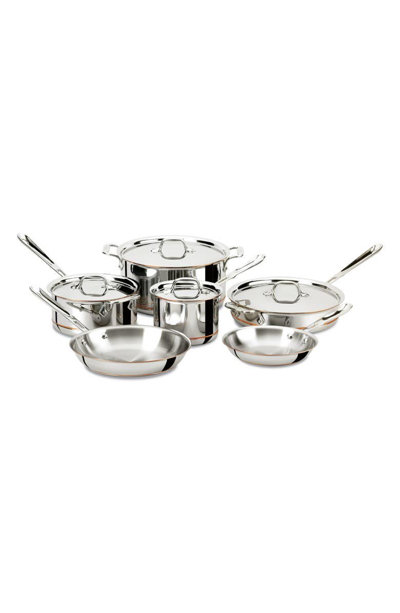 ALL-CLAD Copper Core 10-Piece Cookware Set, Main, color, STAINLESS STEEL