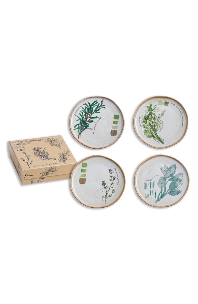 ROSANNA Artist Sketchbook - Farm to Table Set of 4 Appetizer Plates, Main, color, 900
