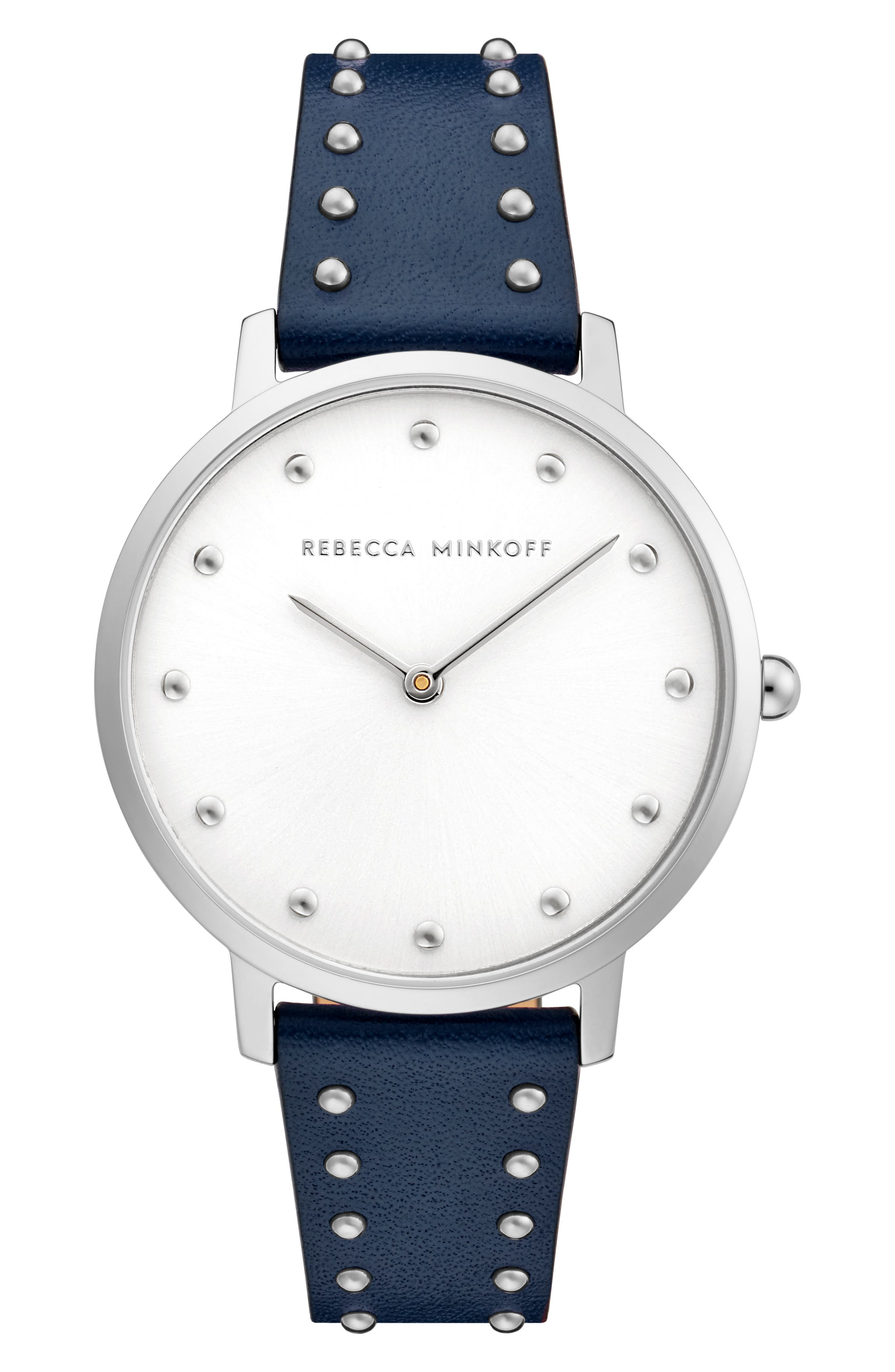 Rebecca Minkoff Watches Major Stud Leather Strap Watch, 35mm