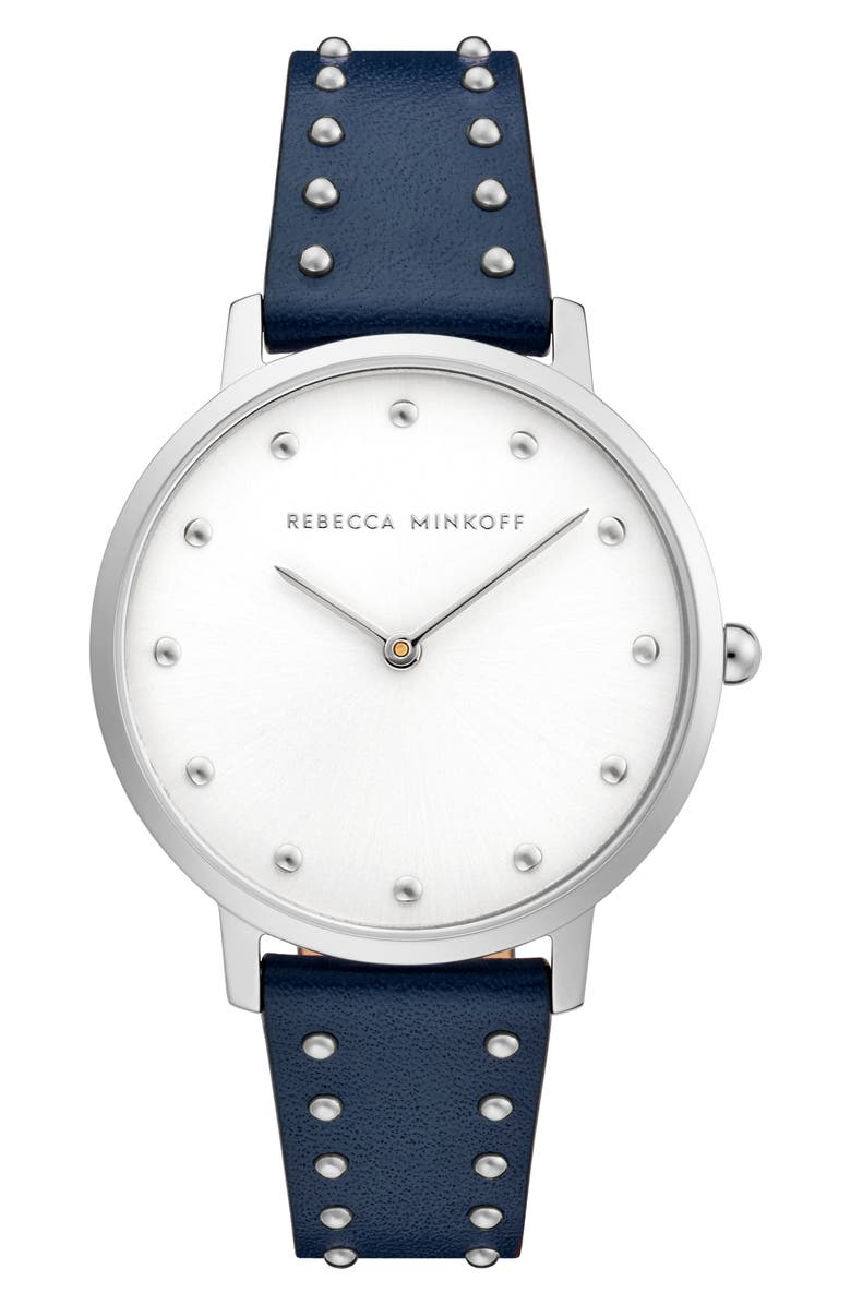 REBECCA MINKOFF Major Stud Leather Strap Watch, 35mm, Main, color, NAVY TWILIGHT/ SILVER