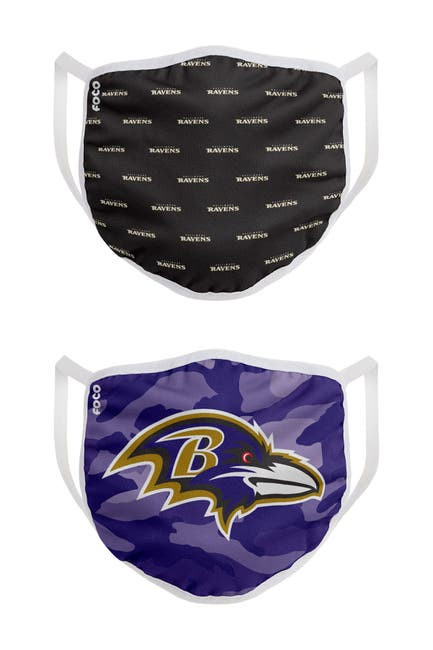 Image of FOCO NFL Baltimore Ravens Clutch Printed Face Cover - Pack of 2