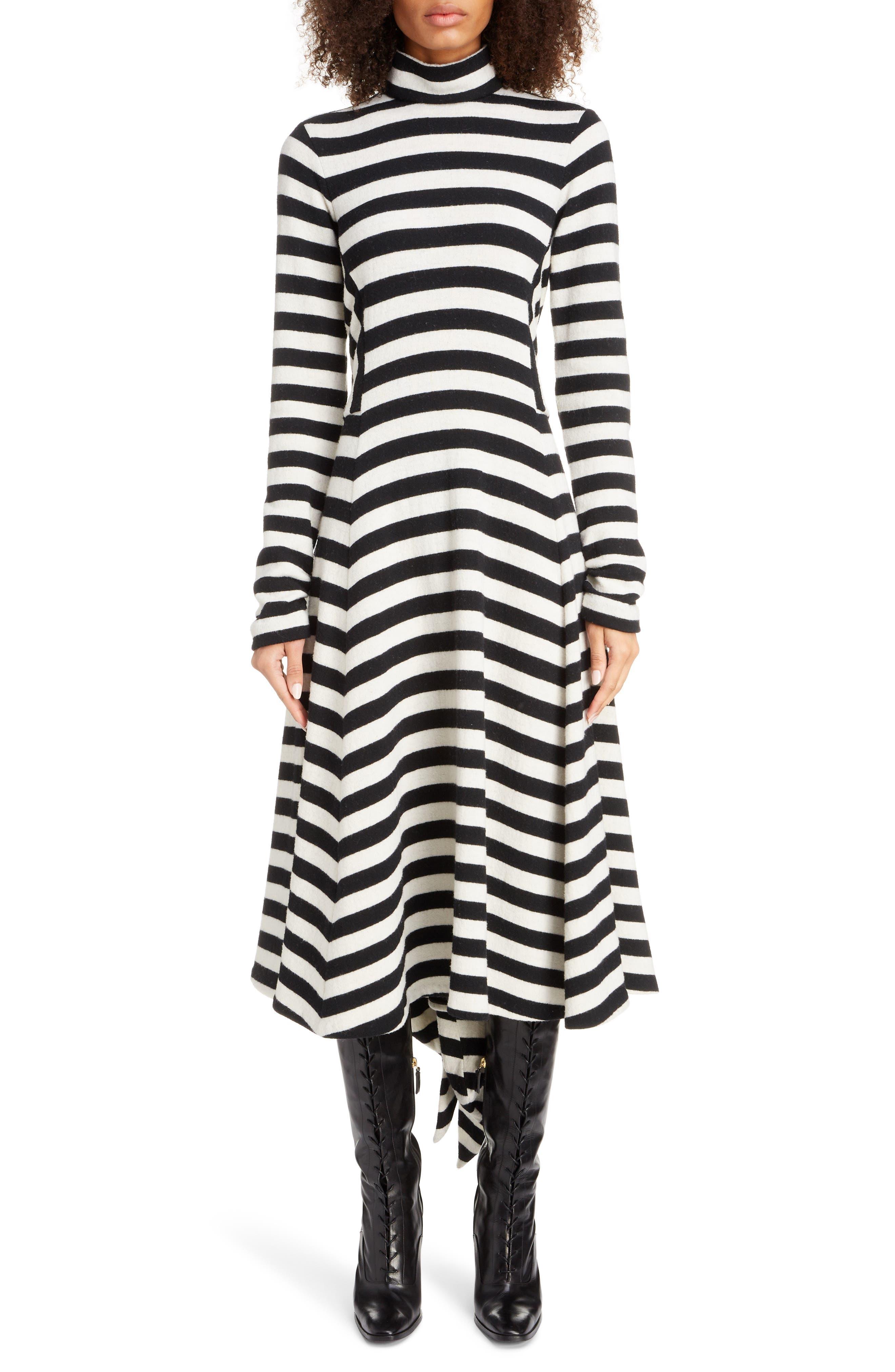 Marc Jacobs Dresses Stripe Long Sleeve Midi Sweater Dress