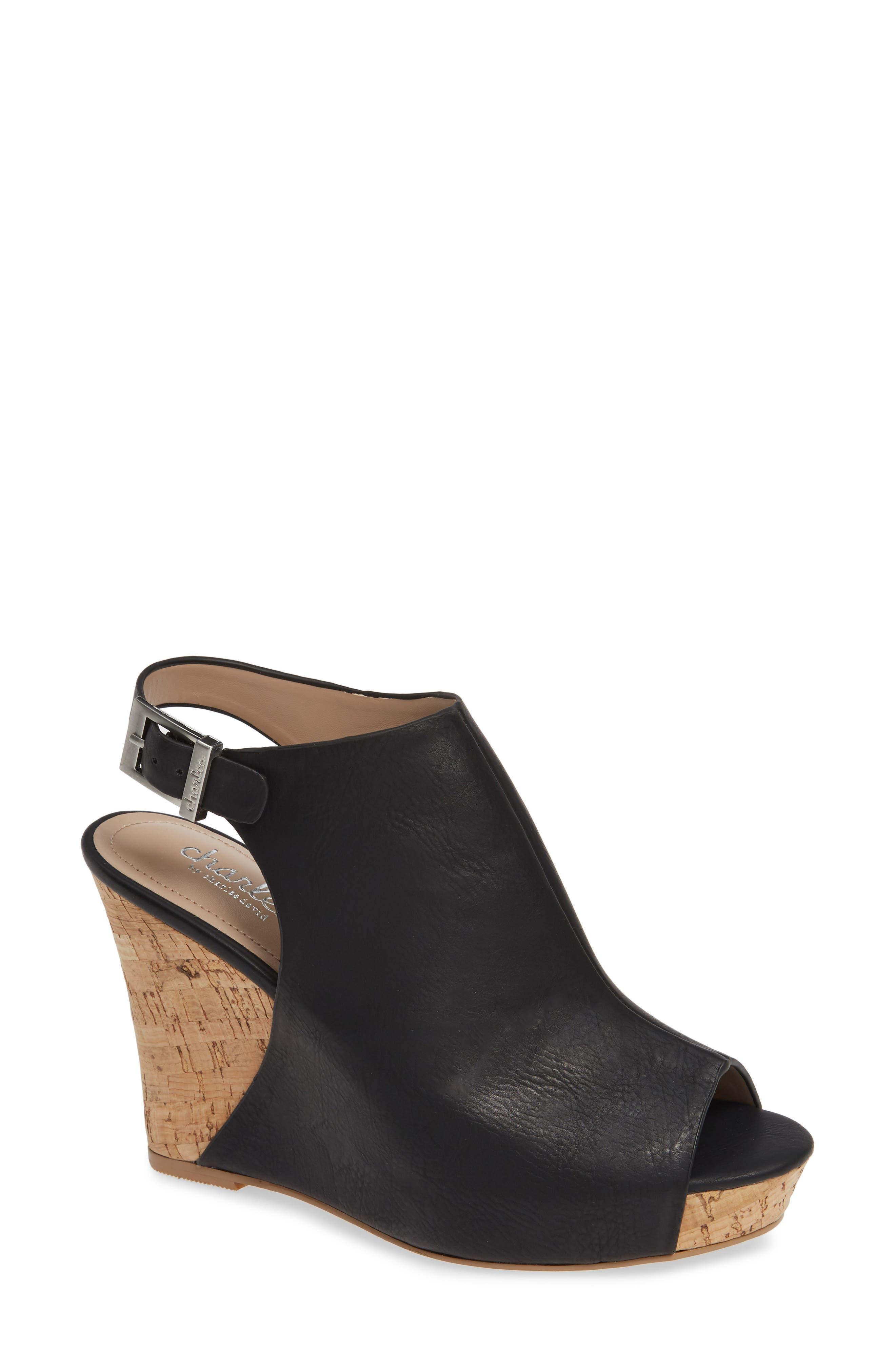 ,                             Lobby Slingback Wedge Sandal,                             Main thumbnail 1, color,                             BLACK FAUX LEATHER